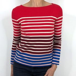 J Crew Red Colorblock Striped Long Sleeve Tee